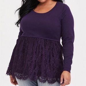 Torrid Sweater 1/2/5 Purple Lace Babydoll Top Plus